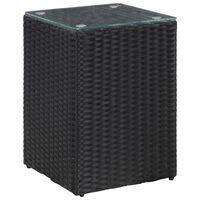 vidaXL Bočný stolík so sklenenou doskou čierny 35x35x52 cm polyratanový