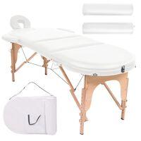 vidaXL Skladací masážny stôl, 4 cm hrubý, 2 podhlavnky, oválny, biely
