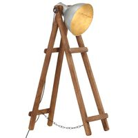 vidaXL Stojanová lampa strieborná masívne mangovníkové drevo E27