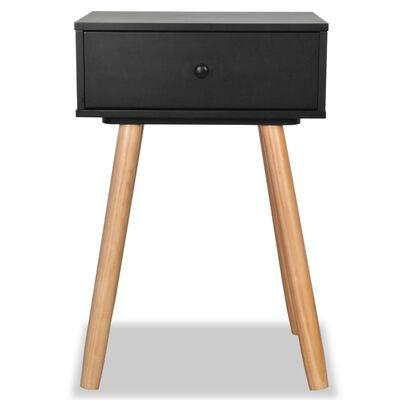 vidaXL Čierne nočné stolíky, 2 ks, masívne borovicové drevo, 40x30x61 cm