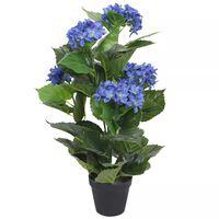 vidaXL Umelá rastlina, hortenzia s kvetináčom 60 cm, modrá