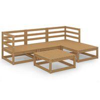 vidaXL 5-dielna záhradná sedacia súprava medovo-hnedá borovicový masív