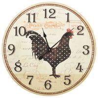 vidaXL Nástenné hodiny s dizajnom sliepky viacfarebné 60 cm MDF