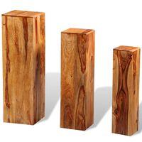 vidaXL Stojany na kvetináče, 3 ks, masívne sheeshamové drevo, hnedé
