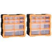 vidaXL Organizéry s 12 zásuvkami 2 ks 26,5x16x26 cm