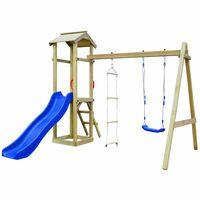 vidaXL Detské ihrisko+šmýkačka, rebríky, hojdačka 242x237x218cm, drevo