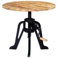 vidaXL Bočný stolík 60x(46-63) cm masívne mangovníkové drevo a liatina