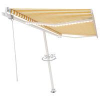 vidaXL Automatická markíza s LED a senzorom vetra 450x350 cm žlto-biela