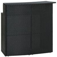 vidaXL Záhradný barový stôl čierny 120x55x110 cm polyratan