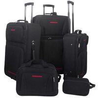 vidaXL Päť-dielna súprava batožiny, čierna