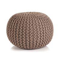 vidaXL Ručne pletená bavlnená taburetka, 50x35 cm, hnedá