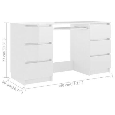 vidaXL Písací stôl, lesklý biely 140x50x77 cm, drevotrieska