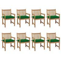 vidaXL Záhradné stoličky 8 ks so zelenými podložkami teakový masív