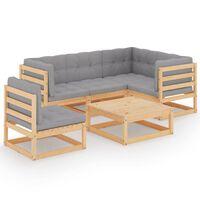 vidaXL 6-dielna záhradná sedacia súprava s podložkami borovicový masív