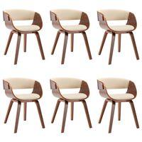 vidaXL Jedálenské stoličky 6 ks krémové ohýbané drevo a umelá koža