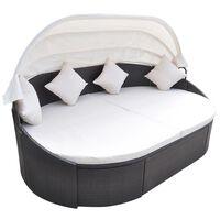 vidaXL Záhradná posteľ s baldachýnom, polyratan, hnedá