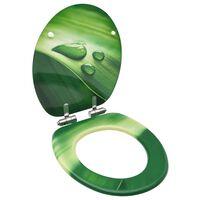 vidaXL WC sedadlo s pomalým sklápaním MDF zelený dizajn s kvapkou