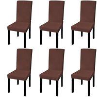 vidaXL Rovný naťahovací poťah na stoličku, 6 ks, hnedý