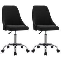 vidaXL Kancelárske stoličky na kolieskach 2 ks čierne látkové