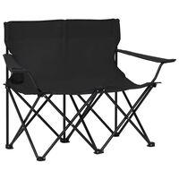 vidaXL 2-miestna skladacia kempingová stolička oceľ a látka čierna