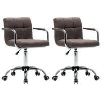 vidaXL Otočné jedálenské stoličky 2 ks, sivohnedé, látka
