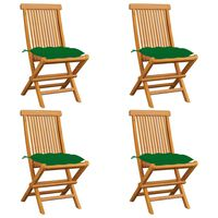 vidaXL Záhradné stoličky so zelenými podložkami 4 ks tíkový masív