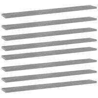 vidaXL Prídavné police 8 ks, betónovo sivé 80x10x1,5 cm, drevotrieska