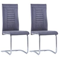 vidaXL Jedálenské stoličky, perová kostra 2 ks, sivé, umelý semiš