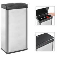 vidaXL Automatický odpadkový kôš so senzorom strieborno-čierny nehrdzavejúca oceľ 80 l
