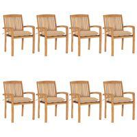 vidaXL Stohovateľné záhradné stoličky s podložkami 8 ks tíkový masív