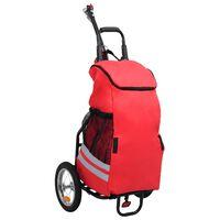 vidaXL Skladací príves za bicykel s taškou na potraviny červeno-čierny