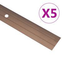 vidaXL Podlahové profily 5 ks, hliník 100 cm, hnedé