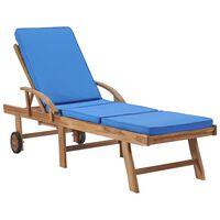 vidaXL Záhradné ležadlo s podložkou, tíkový masív, modré