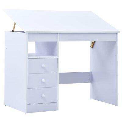 vidaXL Detský stôl na kreslenie sklápací biely