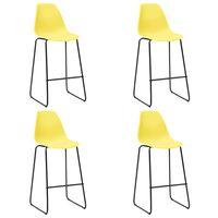 vidaXL Barové stoličky 4 ks, žlté, plast