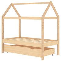 vidaXL Detský posteľný rám so zásuvkou borovicový masív 70x140 cm