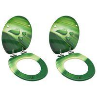 vidaXL WC sedadlá s poklopom s pomalým uzatváraním 2 ks MDF zelené dizajn s kvapkami