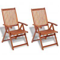 vidaXL Skladacie záhradné stoličky 2 ks, akáciový masív, hnedé