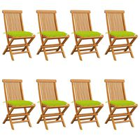 vidaXL Záhradné stoličky s jasnozelenými podložkami 8 ks tíkový masív