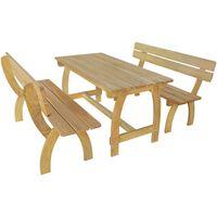 vidaXL Pivný stôl s 2 lavicami, impregnovaná borovica
