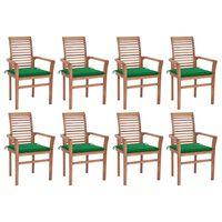 vidaXL Jedálenské stoličky 8 ks zelené podložky tíkový masív