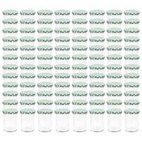 vidaXL Zaváracie poháre s bielo-zelenými viečkami 96 ks 400 ml sklo
