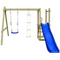 vidaXL Detské ihrisko+šmýkačka, rebríky, hojdačka 242x237x175cm, drevo