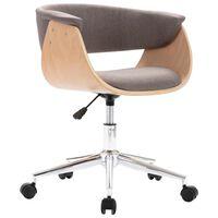 vidaXL Otočná jedálenská stolička, sivohnedá, ohýbané drevo a látka