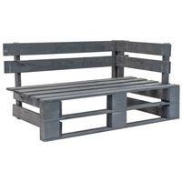 vidaXL Rohová záhradná lavička z paliet, drevo, sivá