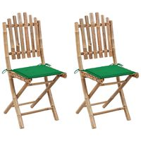 vidaXL Skladacie záhradné stoličky s podložkami 2 ks bambus