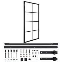 vidaXL Posuvné dvere hliník a ESG sklo s príslušenstvom 90x205 cm