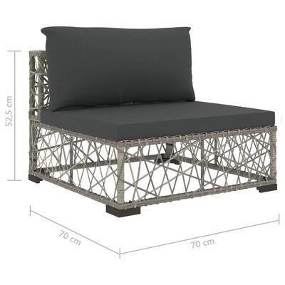 vidaXL 10-dielna záhradná sedacia súprava + podložky, polyratan, sivá