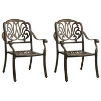 vidaXL Záhradné stoličky 2 ks odlievaný hliník bronzové