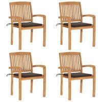vidaXL Stohovateľné záhradné stoličky s podložkami 4 ks tíkový masív